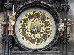 The lower dial of the Astronomical Clock in Prague